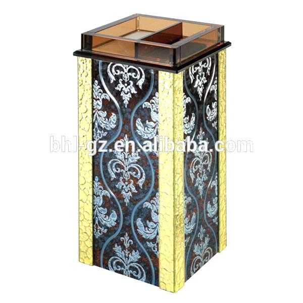 decorative metal wire trash can triangle glass waste mounted garbage bin with buy stainless steel of in ocean mou